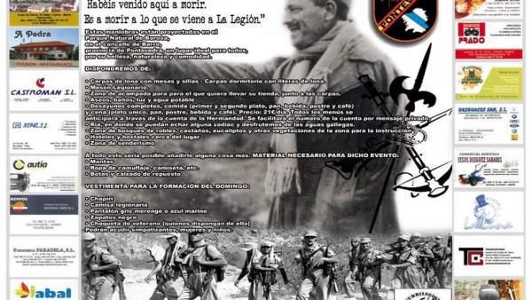 Cartel con el programa de la Hermandad de Caballeros de la Legión