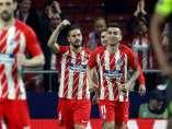 Koke celebra el gol marcado al Sporting de Portugal a los 22 segundos de partido