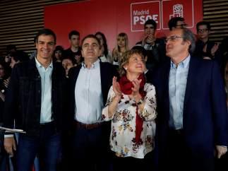 Pedro Sánchez, José Manuel Franco, Carmen Barahona y Ángel Gabilondo, este sábado en Madrid.