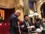 El presidente del Parlament, Roger Torrent, y miembros de la Mesa.