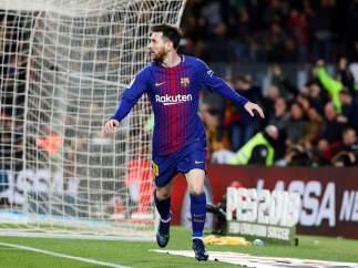 Leo Messi, celebrando un tanto.
