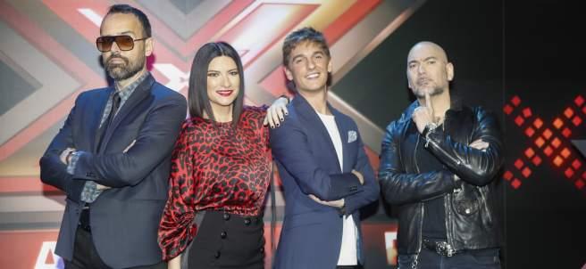 Risto Mejide, Laura Pausini, Xavi Martinez y Fernando Montesinos en la premier del programa de Telecinco 'Factor X'.