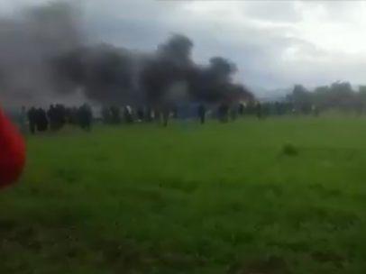 Columna de humo tras el accidente
