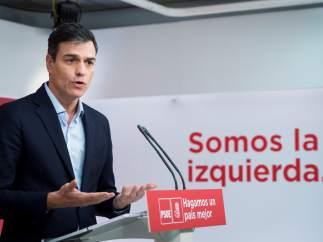 Pedro Sánchez, secretario general del PSOE, este miércoles en Ferraz.