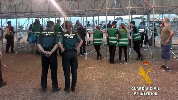 Dispositivo de la Guardia Civil en el Festival Dreambeach 2017, en Villaricos