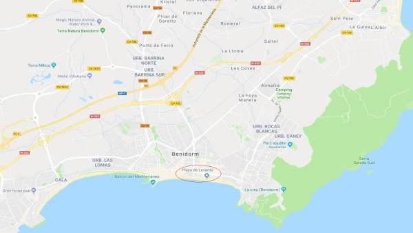 Localización de la Playa de Levante en Benidorm