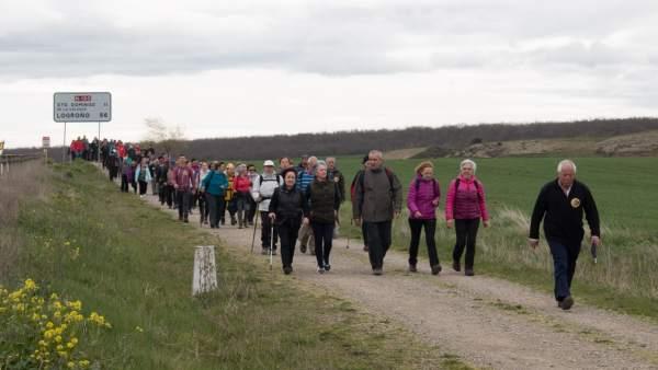 Burgos.- Vecinos de CyL y La Rioja, en la marcha de Viloria