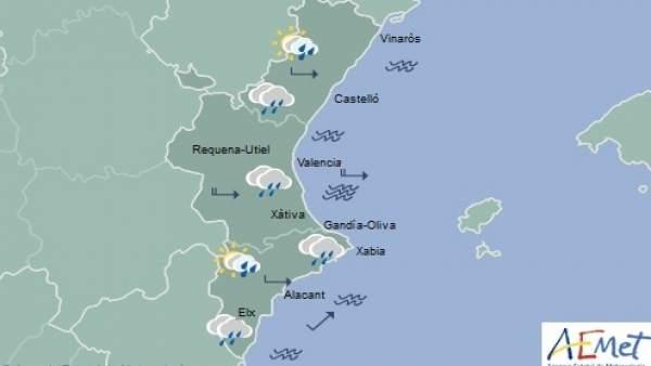 La setmana comença amb pluges localment fortes i màximes en descens a la Comunitat Valenciana