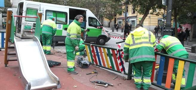 Desperfectos en el barrio de Lavapiés (Madrid) tras los disturbios