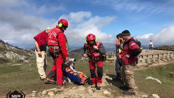 Mujer herida en una pierna en Cangas de Onís