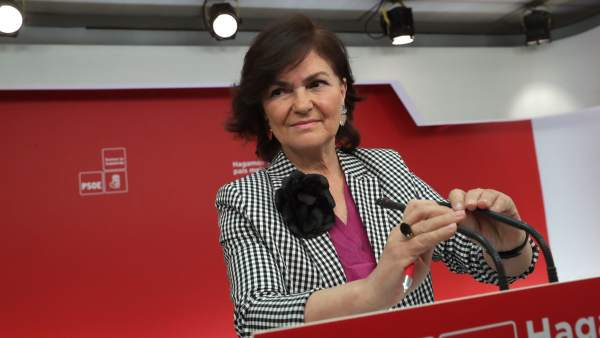 Carmen Calvo, secretaria de Igualdad del PSOE, en una rueda de prensa en Ferraz.