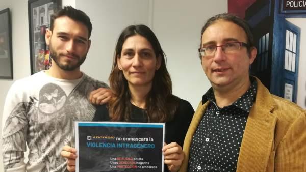Rufino Arco, de Policía Nacional; Arantxa Miranda, de Policía Local y Paco Ramírez, de Colegas, en la presentación de la campaña contra la violencia intragénero LGTBI | Amaya Larrañeta