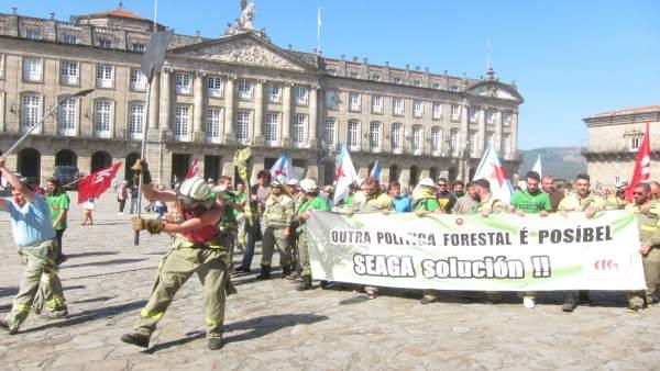Protesta de brigadistas de Seaga en Santiago