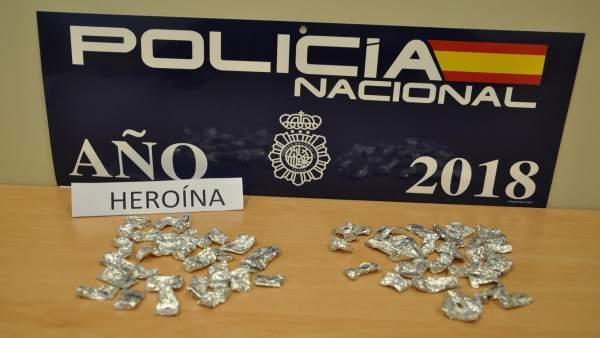 Droga incautada a una mujer en Villanueva de la Serena