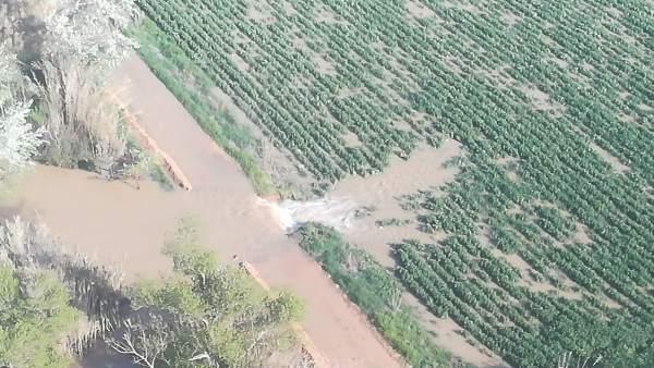 Mota de Quinto de Ebro, rota por la crecida del Ebro en abril de 2018