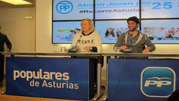 La presidenta del PP, Mercedes Fernández, en rueda de prensa
