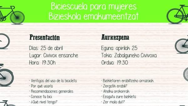 Cartel de la jornada de la Biciescuela para mujeres.