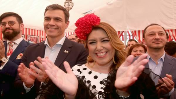 Pedro Sánchez y Susana Díaz en la Feria de Sevilla 2018