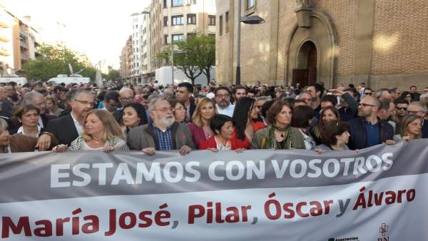 Concentración de apoyo en Pamplona a los guardias civiles agredidos en Alsasua.