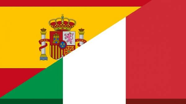 Banderas de España e Italia