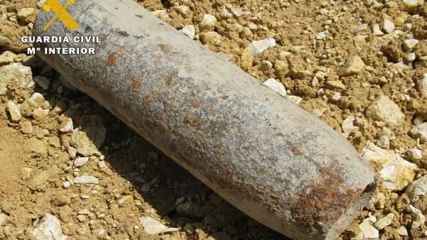 Imagen del proyectil de artillería encontrado en Burgos 20/04/2018