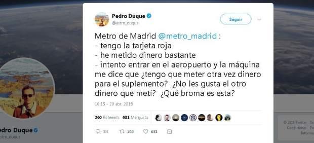 """Pedro Duque, contra el suplemento de aeropuerto del Metro de Madrid: """"¿Qué broma es esta?"""""""