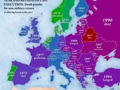 El mapa europeo de la última ejecución en cada país