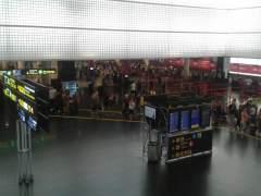 Colas en el Aeropuerto de el Prat de Barcelona.