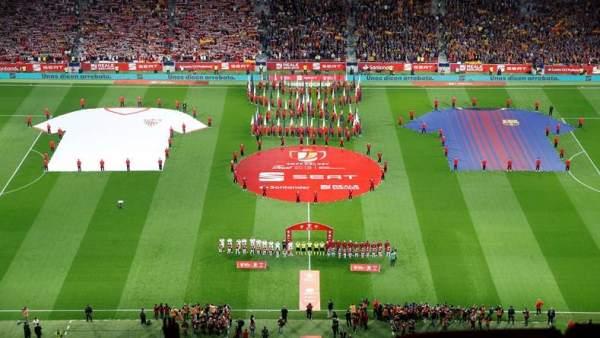 Barça y Sevilla, en la previa de la final de la Copa del Rey.