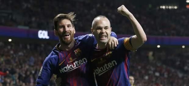 Iniesta y Messi, del Barça.
