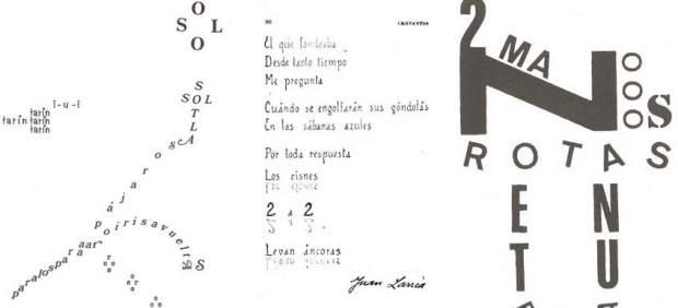 Tres poemas experimentales de Gabriel Zelaya, Juan Larrea y Francisco Aliseda