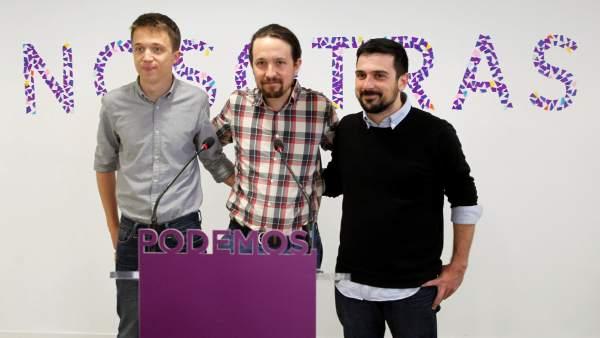 Errejón, Iglesias y Espinar, en la sede de Podemos la semana pasada.