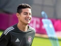 James Rodríguez, en un entrenamiento con el Bayern de Múnich.