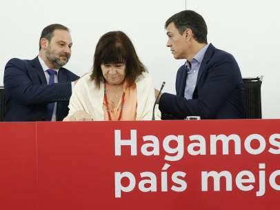 Ábalos, Narbona, Sánchez y Lastra, este martes en Ferraz.