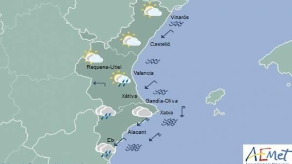 Cels poc nuvolosos en el nord de la Comunitat Valenciana i arruixades en la mitat sud que remetran a la vesprada