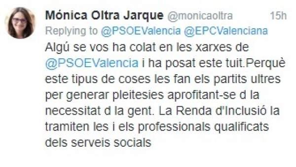 Compromís i PSPV s'enfronten en Twitter per l'assessorament en seus socialistes sobre la Renda d'Inclusió