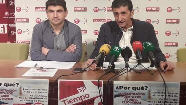 Los secretarios generales de CCOO y UGT, Sebastián Donaire y Emilio Fernández.