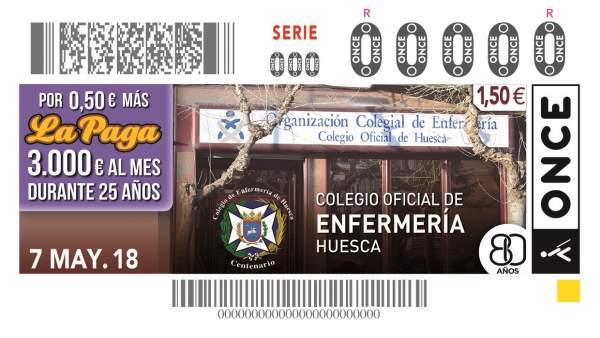 El Colegio de Enfermería de Huesca, en el cupón de la ONCE del 7 de mayo