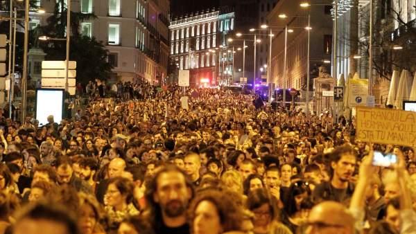 Protesta multitudinaria en Madrid