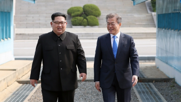 Moon Jae-in y Kim Jong-u