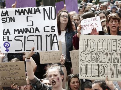 Protestas en Pamplona contra la sentencia de La Manada