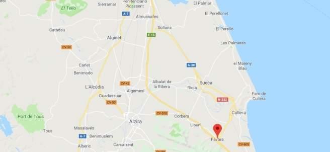 Localización de Favara (Valencia)