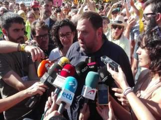 O.Junqueras en declaraciones durante la manifestación de la Diada