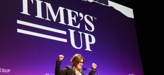 La actriz Mariska Hargitay participa en la presentación del movimiento 'Time's Up' durante el Festival de Cine de Tribeca, en Nueva York