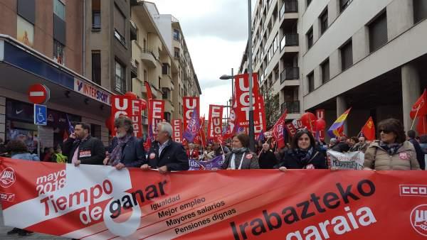 Imagen de la manifestación antes de partir.