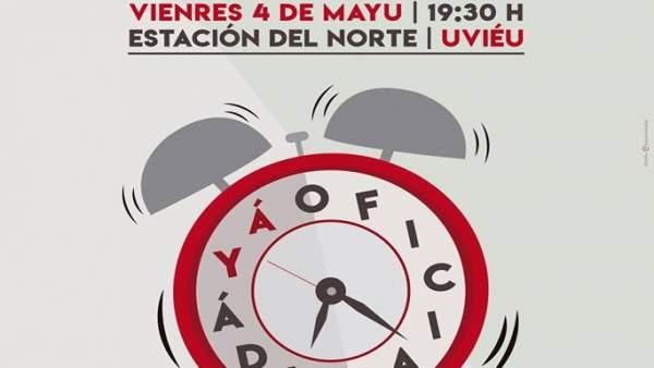 Cartel de la manifestación pola oficialidá.