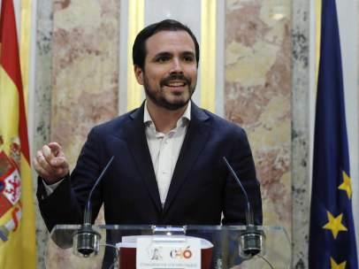 El coordinador federal de IU, Alberto Garzón, en el Congreso de los Diputados.
