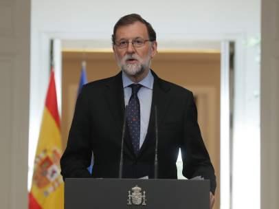 Mariano Rajoy, presidente del Gobierno, durante su declaración institucional.