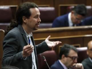 Pablo Iglesias, durante su intervención en el Congreso