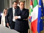 Silvio Berlusconi, Matteo Salvini y Giorgia Meloni